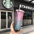 Стакан с крышкой и трубочкой гнутый Starbucks Color